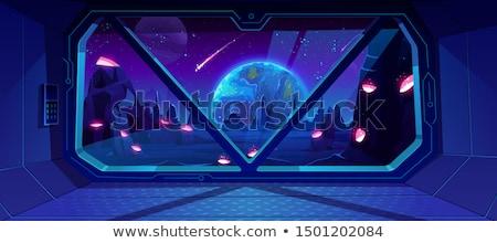 Widoku przestrzeń kosmiczna wewnątrz przestrzeni stacja okno Zdjęcia stock © sdecoret