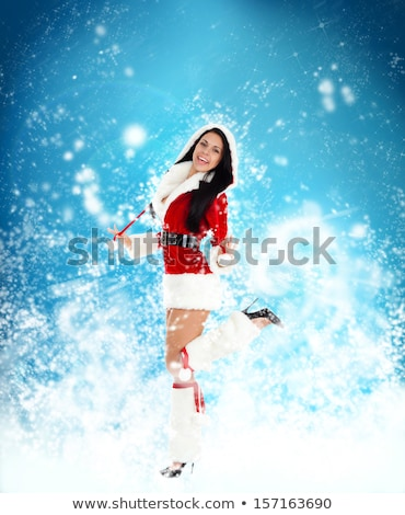 dancing girl wearing a hat over abstract background stock photo © konradbak