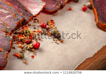 jerky in spices with bread stock photo © oleksandro