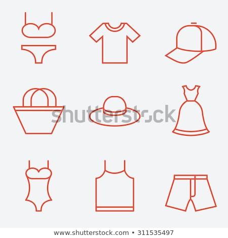 Melltartó terv vektor vékony vonal ikon szett Stock fotó © vectorikart