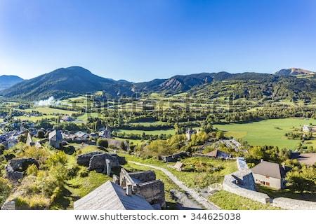 Francuski region Błękitne niebo drzew niebieski góry Zdjęcia stock © meinzahn