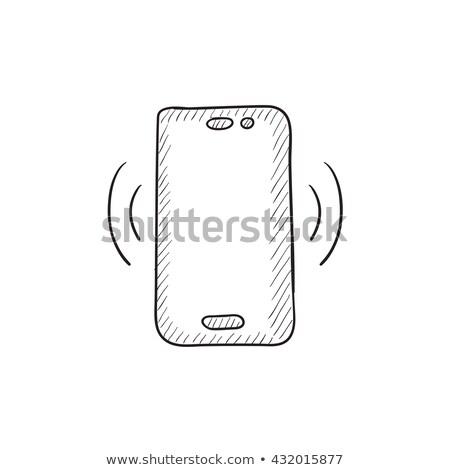 telefonu · komórkowego · ikona · wektora · ilustracja · odizolowany · biały - zdjęcia stock © rastudio