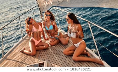 счастливым · купальник · питьевой · шампанского · люди - Сток-фото © deandrobot