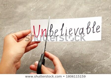 Tesoura papel branco assinar ferramenta Foto stock © Darkves