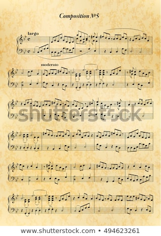 Music note sheet with difficult melody on old paper Stock photo © Evgeny89