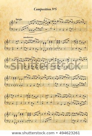 Muzyki Uwaga arkusza trudny melodia starego papieru Zdjęcia stock © Evgeny89