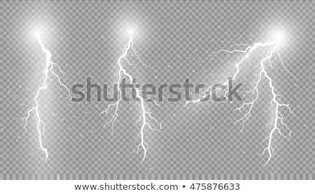 set of bright thunderbolts on transparent background stock photo © evgeny89