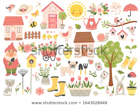 Birdhouse with flowers and insects Stock photo © bluering