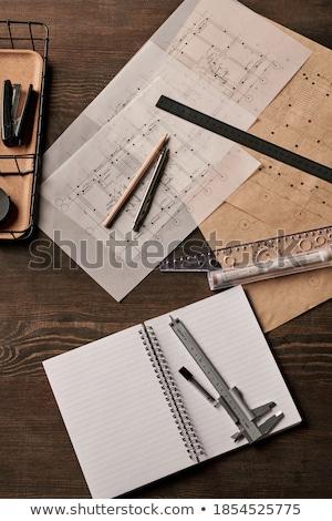 Személyes szervező tervrajzok oldalak könyv építészet Stock fotó © goir