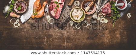 Bolt illusztráció étel hús sonka elad Stock fotó © adrenalina