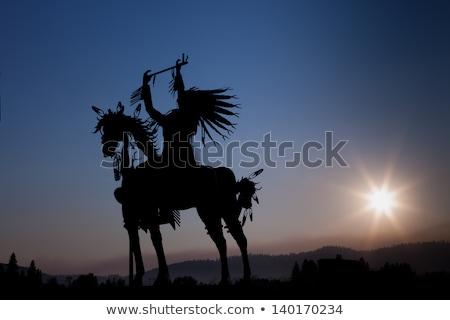 native indian on horse at sunset stock photo © adrenalina