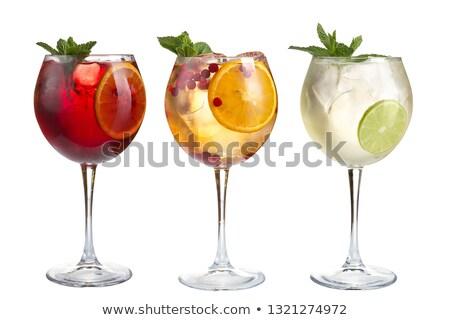 Három borospoharak piros gyümölcslé jég fehér Stock fotó © tish1