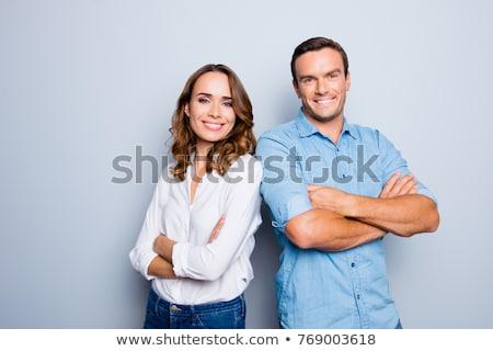 Retrato sonriendo amistoso hombre pie manos Foto stock © deandrobot