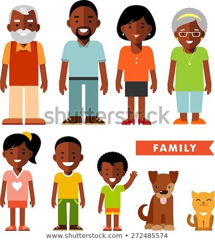 Cartoon улыбаясь черный этнических семьи два Сток-фото © maia3000
