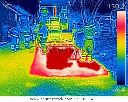 Infrared thermovision image Workers on Asphalting Road street Stock photo © smuki