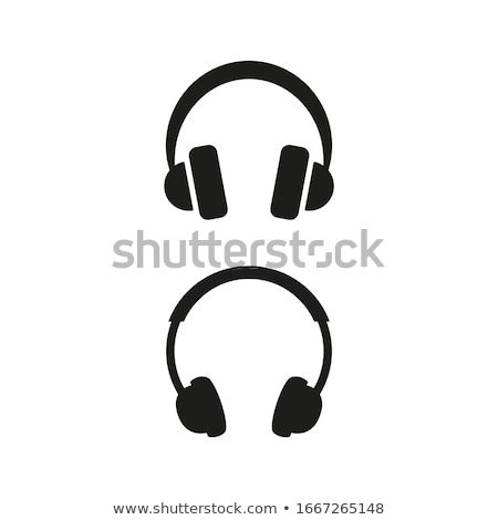 Headphones icon on a blue button and white background Stock photo © Imaagio