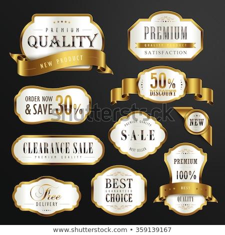 Prémium gyűjtemény arany kitűző címke terv Stock fotó © SArts