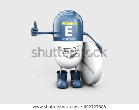 Vitamin E shining pill cartoon capsule. 3d illustration Stock photo © tussik