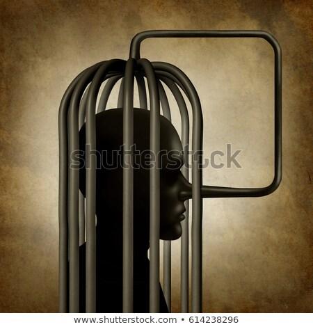 Magad személy hosszú orr szimbólum ketrec Stock fotó © Lightsource