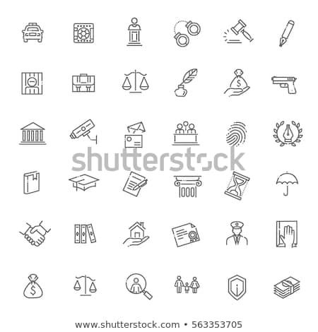 droit · justice · icônes · échelles · juge · marteau - photo stock © lenm