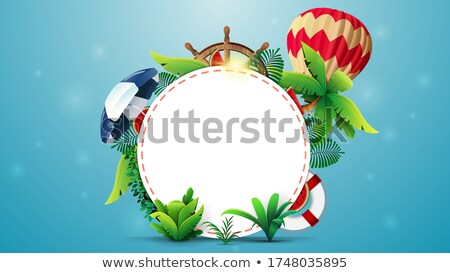 summer banner template design with colorful beach elements stock photo © curiosity