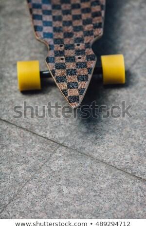 Ayakta granit tekerlekler kız ahşap Stok fotoğraf © chesterf