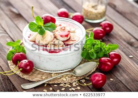 Friss joghurt cseresznye banán finom desszert Stock fotó © yelenayemchuk