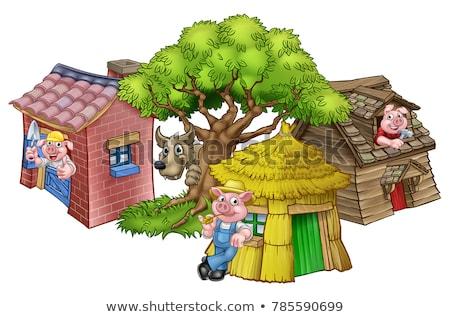 Stok fotoğraf: Cartoon Fairytale Big Bad Wolf And Tree