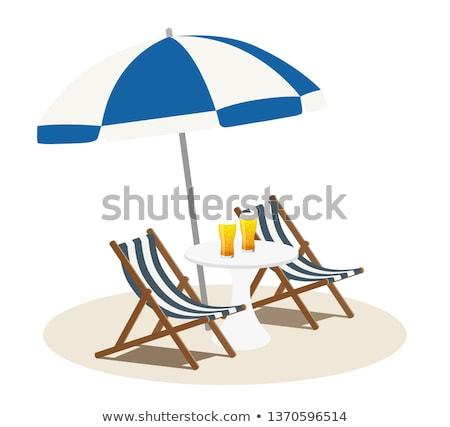 dois · azul · cadeiras · guarda-sol · praia · calma - foto stock © chrisukphoto