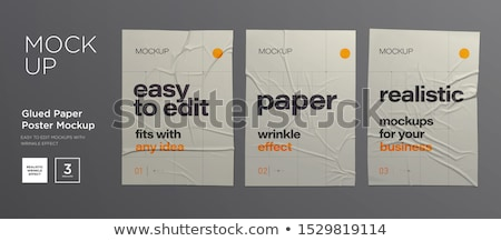 white blank paper wall poster mock up template vector stock photo © pikepicture