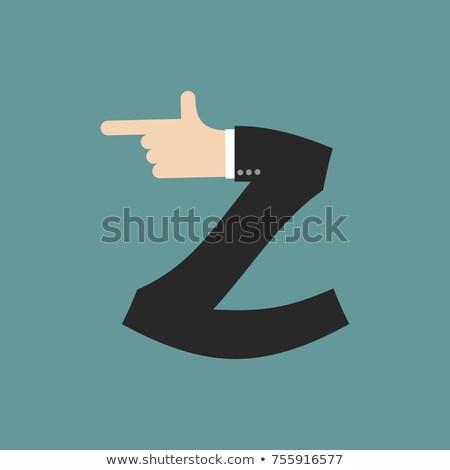 Levél üzletember kéz betűtípus ujj nyomtatott Stock fotó © popaukropa