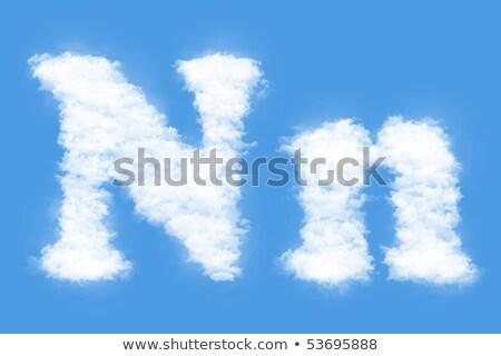 N betű felhő betűtípus szimbólum fehér ábécé Stock fotó © popaukropa