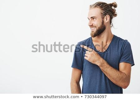 caucasiano · bonito · jovem · barbudo · feliz · homem - foto stock © deandrobot