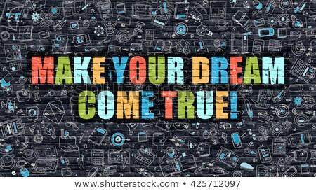 multicolor what is your dream on dark brickwall doodle style stock photo © tashatuvango