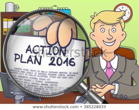 действий плана 2016 увеличительное стекло болван стиль Сток-фото © tashatuvango