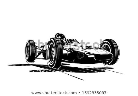 sportok · autók · sziluett · ikonok · versenyzés · retró · stílus - stock fotó © olena