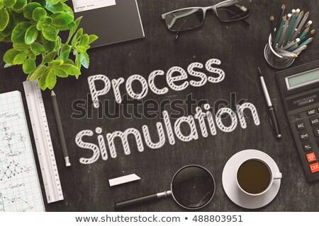 folyamat · mérnöki · fekete · tábla · 3D · renderelt · kép - stock fotó © tashatuvango