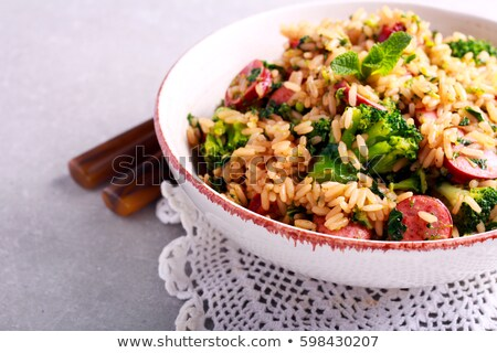 Pikantny ryżu kiełbasa żywności drewna tle Zdjęcia stock © M-studio