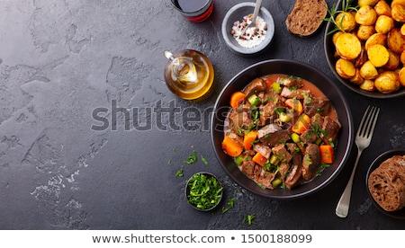 Sığır eti güveç havuç şarap arka plan Stok fotoğraf © M-studio