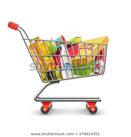 Stockfoto: Klant · winkelwagen · man · voortvarend · lege · supermarkt