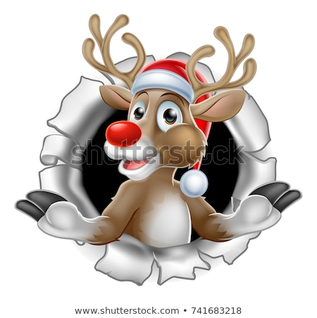 Santa Hat Reindeer Tearing Through Background Stock photo © Krisdog