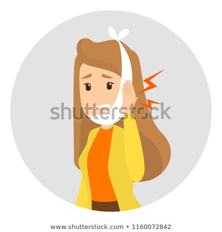 Woman with a toothache - cartoon people characters isolated illustration Stock photo © Decorwithme