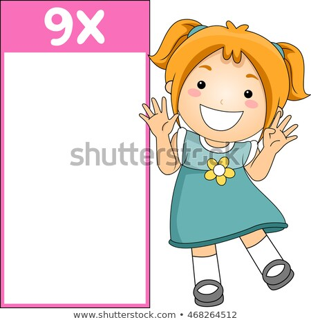 Dziecko dziewczyna mnożenie tabeli flash karty Zdjęcia stock © lenm