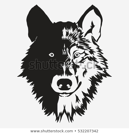 wolf bolt emblem mascot head silhouette vector stock photo © andrei_