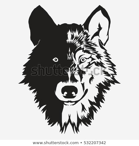 Stock fotó: Wolf Bolt Emblem Mascot Head Silhouette Vector