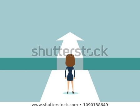 Mulher de negócios saltando lacuna seta para cima asiático Foto stock © RAStudio