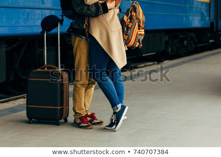 Couple with luggage on a trolley Stock photo © IS2