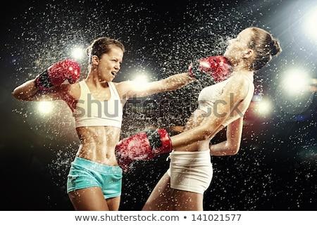 Kettő női boxeralsó áll box gyűrű Stock fotó © wavebreak_media