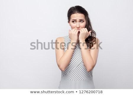fiatal · megszégyenített · nő · vektor · terv · illusztráció - stock fotó © studiostoks