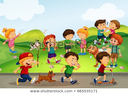many kids playing on the road stock photo © bluering